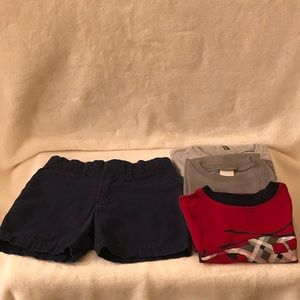 Boy's Bundle 3 T-Shirts and one Shorts Size 3T